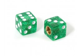 Dice Valve Caps -Glitter Green