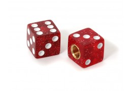Dice Valve Caps -Glitter Red