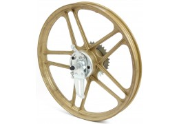 "Gold 17"" Thick Spoke Grimeca 5 Star Rear Wheel"
