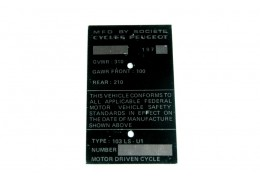 Peugeot 103 Replacement Vin Plate